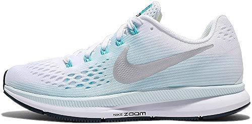 Nike WMNS Air Zoom Pegasus 34, Chaussures de Running Compétition Femme, Multicolore (White/Metallic Silver/Glacier Blue 104), 38.5 EU