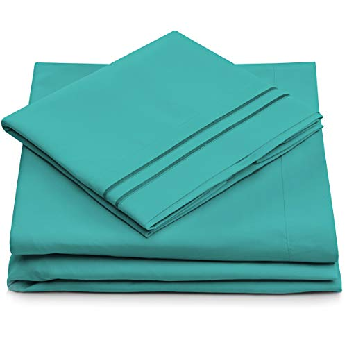 Cosy House Collection Split King Sheets for Adjustable Beds - Split King Bed Sheet Sets - Deep Pocket - Super Soft Hotel Bedding - Cool & Wrinkle Resistant - SplitKing Sheets (Split King, Turquoise)