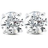 IGI Certified 1 Ct Diamond Studs Screw Back Womens Earrings in 14K White Gold