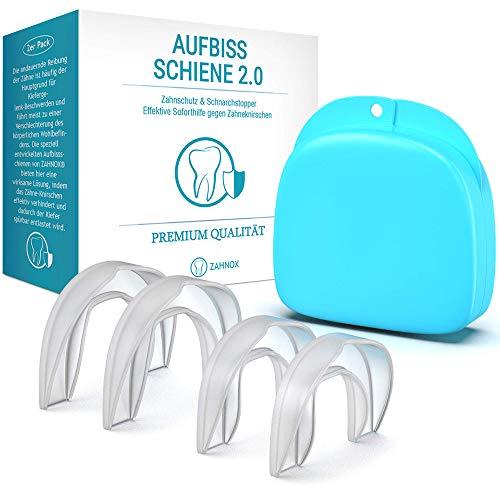 ZAHNOX© Premium Aufbissschiene [4er Set] - Verbessertes Konzept 2020 - Neuartige Knirscherschiene Zahnschiene gegen Zähneknirschen - Zähne Zahnschutz Beissschiene für die Nacht inkl. Transportbox