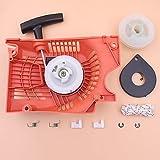 Arrancador de retroceso compatible con motosierra china 5200 5800 52cc 58cc Kit de trinquete de cuerda de resorte de polea de tipo único