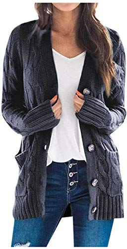 Mujeres Otoño Suéter Abrigos Sólidos de Manga Larga Suéteres de las Mujeres Cardigan Tops Abrir Frente Tejidos Sudaderas Abrigo Bolsillos
