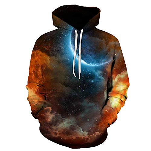 Men's Hoodie Transitional Jacket Sweatshirt Unisex 3D Galaxy Colorful Printing Hooded Sweater Long Sleeve Pullovers with Pockets Leisure Fashion Coat Fashion Tops Loose-Novelty Jacket 3XL