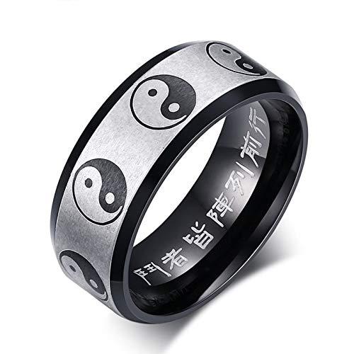 JHDUID Anillo de acero inoxidable Yin Yang chino Feng Shui anillo taoísta nueve sílabas mantra tamaño 5-14 Bagua 8 trigramos Spinner anillo anillo budista joyería amuleto riqueza suerte, 13