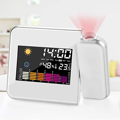 DASIAUTOEM Projektionswecker, Wecker mit Projektion LED Projektion Wecker Digital Wecker USB Aufladung LCD Displaybeleuchtung/Uhrzeit Datumsanzeige/180 ° Projektion/Snooze/Hygrometer/Temperaturanzeige