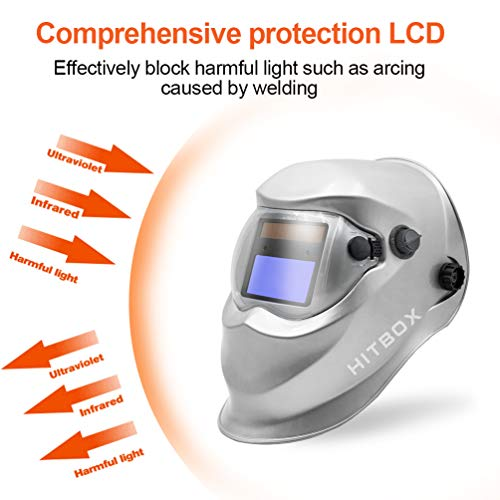 HITBOX Welding Helmet Solar Powered Auto Darkening Hood with Adjustable Shade Range for TIG MIG ARC Grinding Plasma Welder Mask (Silver)