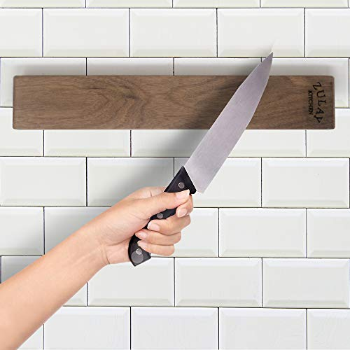 Zulay Seamless Walnut Wood Magnetic Knife Holder - Powerful Wood Magnetic Knife Strip for Organizing your Kitchen - Elegant