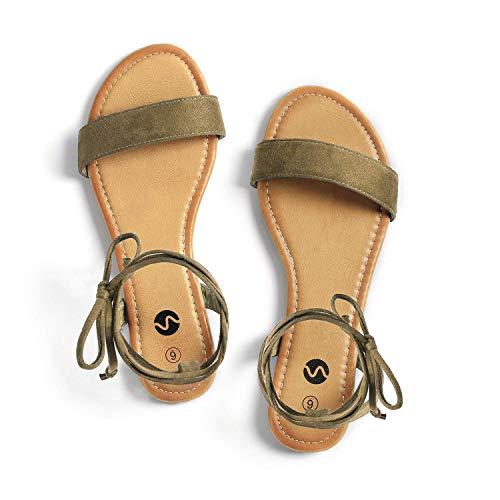 Rekayla Open Toe Tie Up Ankle Wrap Flat Sandals for Women Khaki Green 07
