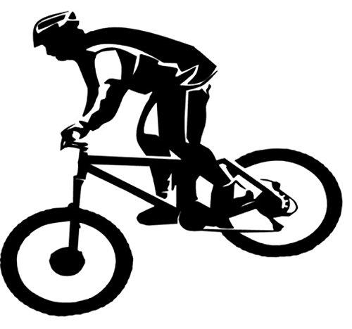 Mountainbiker Aufkleber Bike Radfahrer Aufkleber in Den Größen 10cm Oder 15cm (135/3) (15cm, Dunkelgrau Matt)