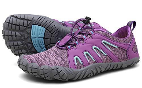 Voovix Herren Trekkingschuhe Damen Wanderschuhe Barfußschuhe Laufschuhe Traillaufschuhe Knit Sneaker Fitnessschuhe im Sommer Lila42