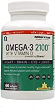 Ocean Blue Omega 2100 with Vitamin D Molecularly Distilled Concentrated Omega 3 Fish Oil 2100 mg of Omega-3 2000 IU Cholecalciferol – 60 Soft Gels
