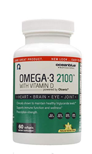 Ocean Blue Omega 2100 with Vitamin D3, Concentrated Omega-3 Burpless Fish Oil Supplement with 2000 IU D3 as Cholecalciferol, Molecularly Distilled Fish Oil - Natural Vanilla Flavor - 60 Softgels