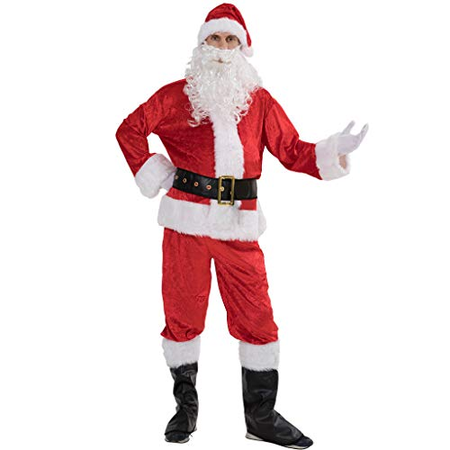 EraSpooky Men Christmas Santa Costume Adult Flannel Classic Suit 7pcs
