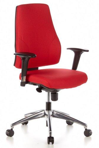 hjh OFFICE 608020 bureaustoel PRO-TEC 200 stof rood ergonomische draaistoel met verstelbare armleuningen bureau chair