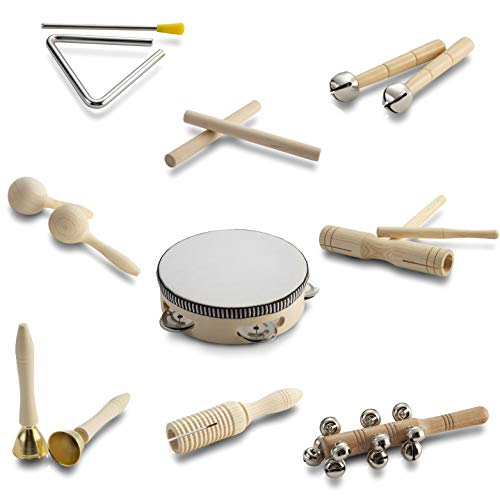 Toddler Wooden Musical Instruments Ages 1-6 / Baby Montessori Music Toys 6-12-9-18 Months Infant / Children's Preschool Educational Learning Toys / Gift for 1 Year Old Girl/Kids Wooden Percussion Set