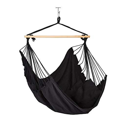 Relaxdays Hängesessel Baumwolle, Hängeschaukel mit 2 Kissen, bis 120 kg, Indoor & Outdoor, Kinder & Erwachsene, schwarz