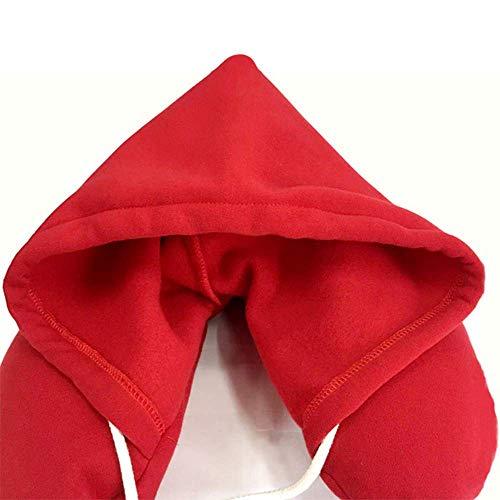 N/P Almohada de viaje con capucha suave en forma de U para coche, vuelo de aire, almohadas inflables, soporte para el cuello, cojín de lactancia suave