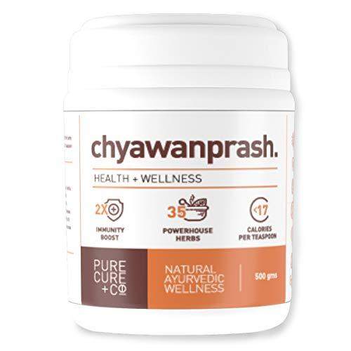 PURECURE+CO Pure Chyawanprash, 2 x Immunity Booster, Sugar Free, 35 Best Herbs Like Phyllanthus emblica, Withania somnifera, Tinospora cordifolia, Jaggery, Honey 500gms