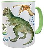 Tasse T-Rex mit Name, Becher für echte Dinofans Kindertasse Dinosaurier Mug inkl....