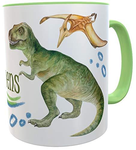 Tasse T-Rex mit Name, Becher für echte Dinofans Kindertasse Dinosaurier Mug inkl. Geschenkverpackung (Keramik)