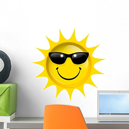 Wallmonkeys Smile Sun Wall Decal Peel and Stick Graphic WM305231 (18 in H x 18 in W)