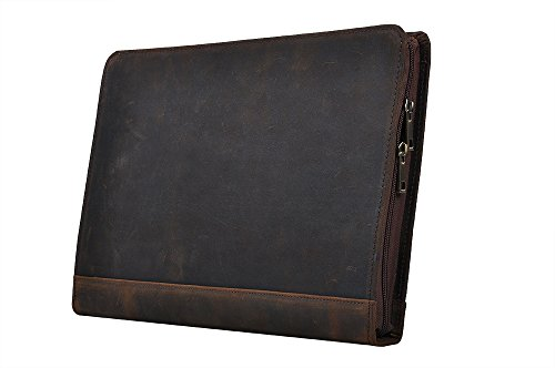 iCarryAlls Rustic Leather Organizer Laptop Portfolio with Notepad Holder for 13 inch Surface Book/MacBook Air, Brown