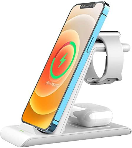 SPGUARD Station de charge compatible avec Apple Watch Station de chargement pour Apple Watch Series SE 6 5 4 3 2, chargeur sans fil pour iPhone 12 iPhone 11 X XS XS Max XR 8 7