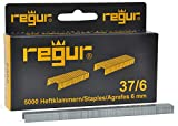 REGUR Typ 37 Feindraht-Klammern verzinkt - 5.000 Stück in der Länge 37/6 mm – Heftklammern zum Befestigen von Stoffen, Leder, Textilien sowie zum Basteln und Dekorieren