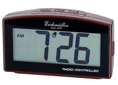 Eichmüller Wecker digitaler Funkwecker in Braun 12/24 h mit Alarm Schlummer und Licht