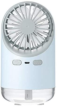 lndytq Portátil 3 en 1 USB Ventilador de Escritorio de enfriamiento por pulverización de Agua Ventilador de humidificación de Niebla LED Ventilador de 3 velocidades de bajo Ruido (Color: Blanco)