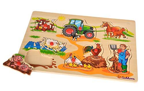 Eichhorn - Steckpuzzle 30x20cm mit 9 Steckteilen, Motive: Safari, Bauernhof, Verkehr, Lieferumfang 1 Stk., Zufällige Lieferung, FSC 100% Zertitiziertes Lindensperrholz, sortiert