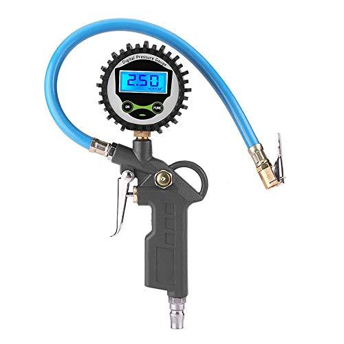 Manometro Pressione Pneumatici Digitale, 220PSI Gonfiatore LCD Pistola Manometro Compressore per Misurazione Precisa della Pressione Pneumatici di Auto e Moto