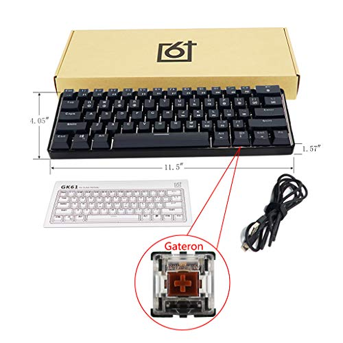 JOYKK RGB Backlit Wired Mechanische Tastatur Tragbare, kompakte, wasserdichte Mini-Gaming-Tastatur 61 Tasten Gateron Switches - Tea Shaft