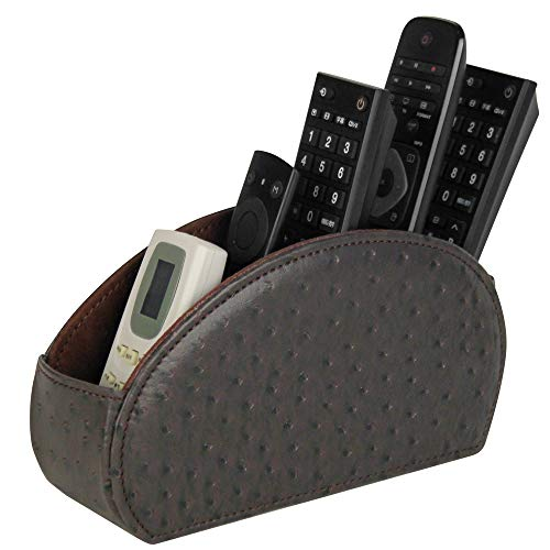 Vixdonos Speckled Remote Control Holder Leather Table Caddy TV Remote Organizer with 5 Compartments for GlassesBrushPencilMedia PlayerOffice SuppliesBrown