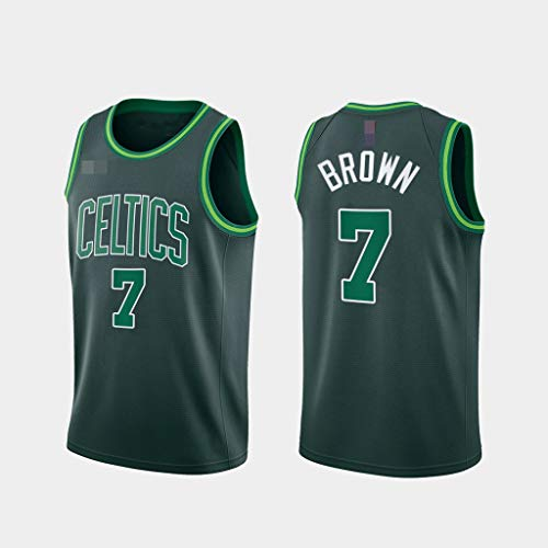 YZQ Jerseys De Baloncesto De Los Hombres, NBA Boston Celtics # 7 Jaylen Brown - Classic Transpirable Quick-Secking Comfort Camiseta Sin Mangas Uniformes Tops,Verde,M(170~175CM)