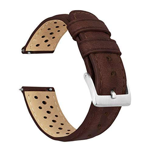 20mm Chocolate - Barton Racing Horween Leather Watch Bands with Integrated Quick Release Spring Bars - Standard-Standard Length fits Wrists 5