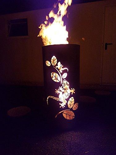 Tiko-Metalldesign Feuerkorb/Feuertonne mit Motiv Gecko mit Kind