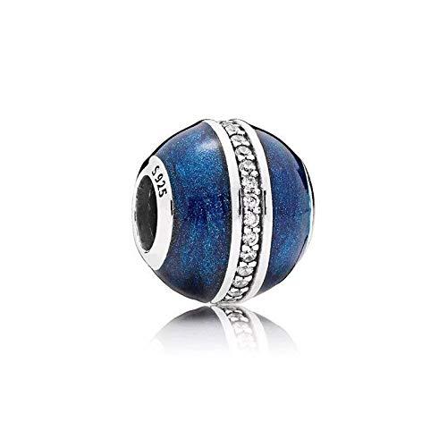 QIAMUCJC Plata de Ley 925 Utilizada para Hacer Joyas, Regalos de Bricolaje para Mujeres Qikaola Real Blue Plant Zircon Beads Fit Original Pulsera Fabricación de Joyas CMS e