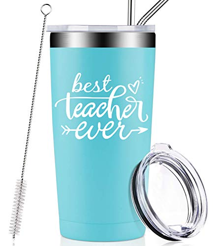 Best Teacher Ever, Birthday Gifts for Teacher from Student, Kids, Appreciation Christmas Gift for Women, Men, Best Friend, Retirement, Classroom, Travel Wine Tumbler Cup with Lid and Straw