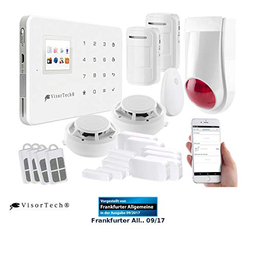 VisorTech Wireless Alarmanlage: Funk-Alarmanlage mit WLAN- & GSM-Anbindung, 17-teiliges Starter-Set...