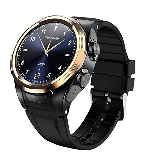 YFC Reloj Inteligente S201 para Hombre, Auriculares Bluetooth, termómetro de Temperatura Corporal, Pantalla táctil Completa, Reloj Inteligente Deportivo, Pulsera Inteligente S201 (Color : Oro)
