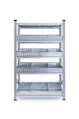 Metalsistem Scaffale ad Incastro, Dimensioni 2000 x 500 x 1200, 5 Livelli di Carico con Divisori, Acciaio Zincato, Campata Iniziale