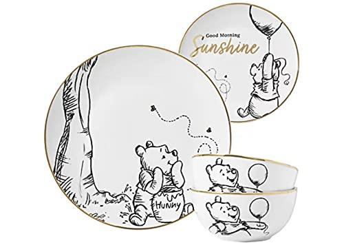 Disney Winnie The Pooh - Juego de vajilla de 12 piezas con plato de cena, ensalada o tazón de cereales y tazón lateral