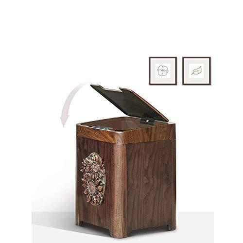 JIAHE115 Smart vuilnisbak, retro houten huis automatische handgemaakte hars zon bloem elanden slimme sensor vuilnisbak voor woonkamer slaapkamer badkamer kantoor, B Huishoudelijke decoratieve opslag emmer