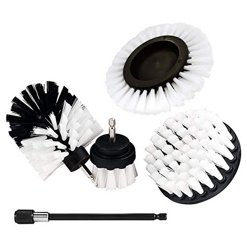 Drill Brush Attachment Set, Shower Cleaner,Power Scrubber Brush Cleaning Kit with Extend Long Attachment Clean for Bathroom Surfaces, Car,Grout, Floor, Tile, Corners and Kitchen (White)