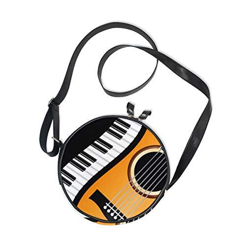 Ahomy Umhängetasche, Klavier-gewellter Rand mit Gitarre, für Kinder, aus Segeltuch