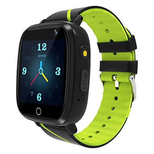 Kids Smart Watch GPS Tracker - Waterproof GPS Tracker Watch for Children Girls Boys with SOS Call Camera Touch Screen Game Alarm for Kids Boys and Girls ... (1 Green&Black)...