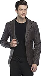 Penymall Chocolate Brown Color Men Function Occasion Casual Party Leather Blazer Coat for Winter,Full Sleeve