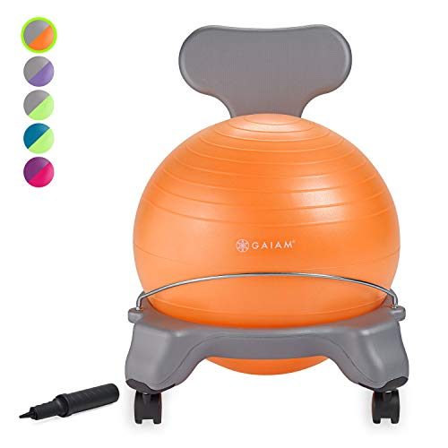 Gaiam Kids Balance Ball Chair - Classic Children's Stability Ball Chair, Alternative School Classroom Flexible Desk Seating for Active Students with Satisfaction Guarantee, Grey/Orange , 35cm