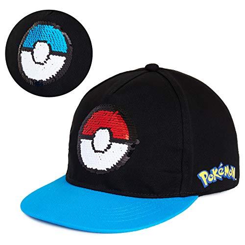 Pokemon Gorra Niño, Gorra Negra Con Diseño de Pokeball y Lentejuelas Reversibles Talla Unica, Merchandising Oficial Regalos Para Niños y Adolescentes